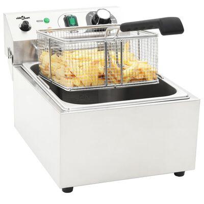 vidaXL Fritadeira elétrica em aço inoxidável 10 L 3000 W