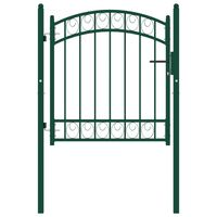 vidaXL Portão para cerca com topo arqueado 100x100 cm aço verde