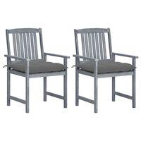 vidaXL Cadeiras de realizador com almofadões 2 pcs acácia maciça cinza