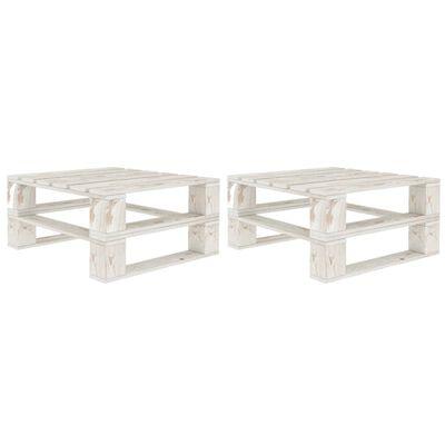 vidaXL Mesas de paletes para jardim 2 pcs madeira branco