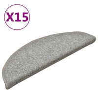 vidaXL Tapete/carpete para degraus 15 pcs 56x17x3 cm cinza-claro