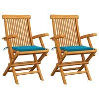 vidaXL Cadeiras de jardim c/ almofadões azuis 2 pcs teca maciça