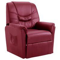 vidaXL Cadeira reclinável couro artificial vermelho tinto