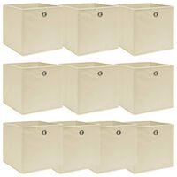 vidaXL Caixas de arrumação 10 pcs 32x32x32 cm tecido creme