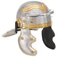 vidaXL Capacete de soldado romano réplica LARP aço prateado