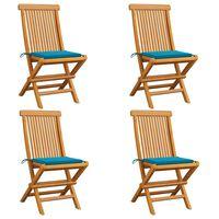 vidaXL Cadeiras de jardim c/ almofadões azuis 4 pcs teca maciça