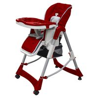 vidaXL Cadeira de bebé alta vermelho bordô altura ajustável