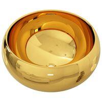 vidaXL Lavatório 40x15 cm cerâmica dourado