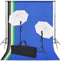vidaXL Kit estúdio fotográfico c/ 5 fundos coloridos e 2 sombrinhas