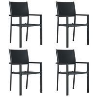 vidaXL Cadeiras jardim 4 pcs plástico preto aspeto vime