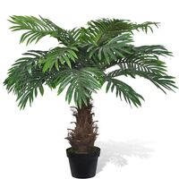 Palmeira artificial, realista, cycus, com vaso de 80cm