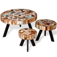 vidaXL Conjunto de mesas de centro 3 pcs madeira recuperada maciça