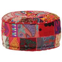 vidaXL Pufe de retalhos redondo algodão artesanal 40x20 cm vermelho