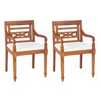 vidaXL Cadeiras Batávia 2 pcs com almofadões madeira teca maciça
