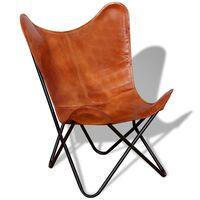 vidaXL Cadeira borboleta em couro genuíno castanho