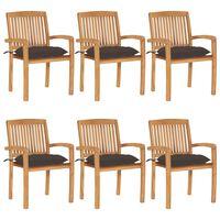 vidaXL Cadeiras de jardim empiháveis c/ almofadões 6 pcs teca maciça