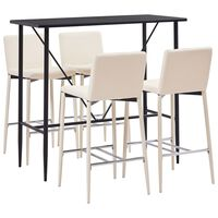 vidaXL 5 pcs conjunto de bar couro artificial creme