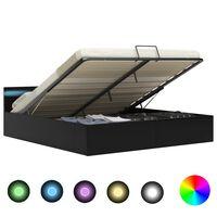 vidaXL Cama hidráulica LED c/ arrumação 160x200cm couro artifi. preto