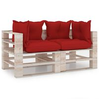 vidaXL Sofá de paletes jardim 2 lugares c/ almofadões madeira de pinho