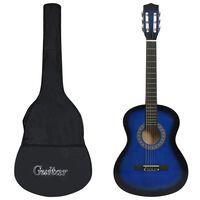 """vidaXL Guitarra clássica para iniciantes com saco 3/4 36"""" azul"""