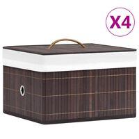 vidaXL Caixas de arrumação 4 pcs bambu castanho