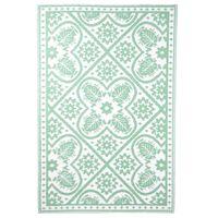 Esschert Design Tapete de exterior 182x122 cm azulejos verde e branco