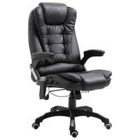 vidaXL Cadeira de escritório c/ função massagem couro artificial preto