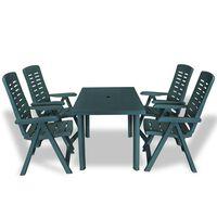 vidaXL Conjunto de jantar de exterior 5 pcs plástico verde