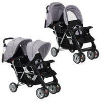 VidaXL Carrinho de bebé paralelo em aço cinzento e preto