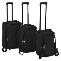 vidaXL Conjunto de malas de viagem 3 pcs preto