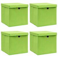 vidaXL Caixas de arrumação com tampas 4 pcs 32x32x32 cm tecido verde