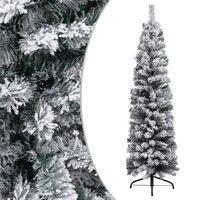 vidaXL Árvore de Natal artificial fina com neve 150 cm PVC verde