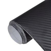 Película de carro, fibra de carbono 3D, em preto 152 x 500 cm