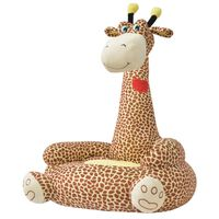 vidaXL Cadeira em pelúcia infantil, girafa, castanho