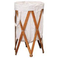 vidaXL Cesto para roupa suja dobrável madeira e tecido creme
