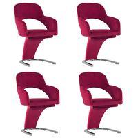 vidaXL Cadeiras de jantar 4 pcs veludo vermelho tinto