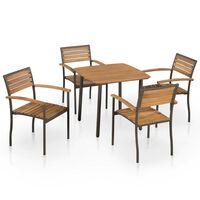vidaXL 5 pcs conjunto de jantar exterior madeira acácia maciça e aço