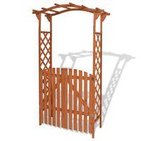 vidaXL Arco de jardim com portão madeira maciça 120x60x205 cm