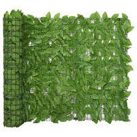 vidaXL Tela de varanda com folhas verdes 400x100 cm