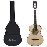 """vidaXL Guitarra clássica iniciantes/crianças c/ saco 1/2 34"""" tília"""