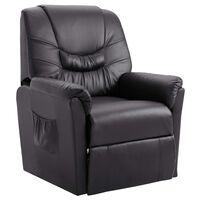 vidaXL Cadeira reclinável couro artificial cinzento
