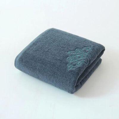 Toalha com bordado 100% algodão 75x35 cm - azul-cinza