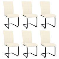 vidaXL Cadeiras de jantar cantilever 6 pcs tecido cor creme