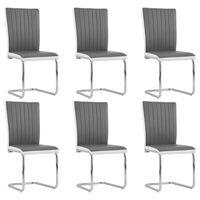 vidaXL Cadeiras de jantar cantilever 6 pcs couro artificial cinzento
