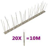 vidaXL Conjunto 20 picos pássaros e pombos 5 filas 10m aço inoxidável