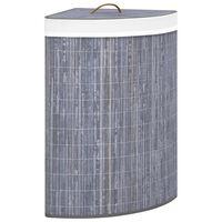 vidaXL Cesto de canto para roupa suja 60 L bambu cinzento