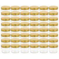 vidaXL Frascos de vidro com tampas douradas 48 pcs 110 ml