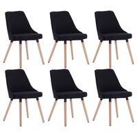 vidaXL Cadeiras de jantar 6 pcs tecido preto