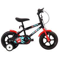 """vidaXL Bicicleta de criança roda 12"""" preto e vermelho"""