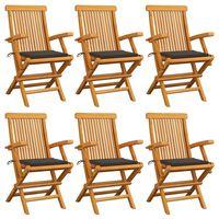 vidaXL Cadeiras de jardim c/ almofadões cinza-acast. 6 pcs teca maciça